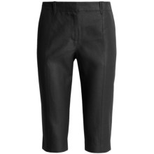 Magaschoni Crop Pants - Coated Linen (For Women) in Black - Closeouts