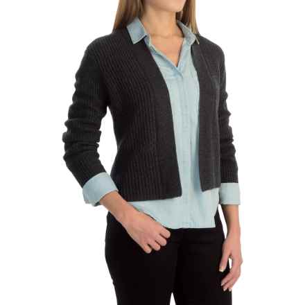 Magaschoni Cropped Cardigan Sweater - Cashmere Blend (For Women) in Charcoal - Closeouts