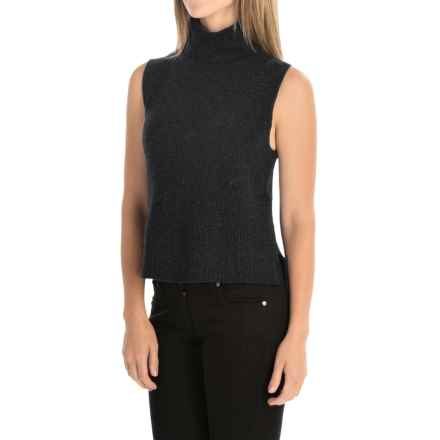 Magaschoni Hi-Lo Turtleneck Sweater Vest - Wool and Cashmere (For Women) in Charcoal - Closeouts