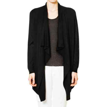 Magaschoni Knit and Woven Draped Cardigan Sweater - Silk and Cashmere (For Women) in Black - Closeouts
