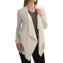 Magaschoni Knit and Woven Draped Cardigan Sweater - Silk and Cashmere (For Women) in Blanc - Closeouts