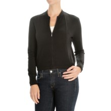 Magaschoni Modern Zip Cardigan Sweater - Silk and Cashmere (For Women) in Black - Closeouts