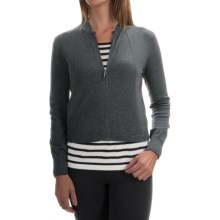 Magaschoni Modern Zip Cardigan Sweater - Silk and Cashmere (For Women) in Charcoal - Closeouts