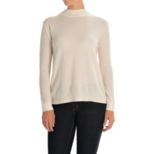 Magaschoni Rear-Zip Sweater - Cashmere and Silk, Long Sleeve (For Women) in Blanc - Closeouts