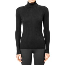 Magaschoni Rib-Knit Turtleneck Sweater - Silk and Cashmere (For Women) in Black - Closeouts