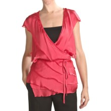 Magaschoni Silk Cashmere Wrap Shirt - Ruffled (For Women) in Red Berry - Closeouts