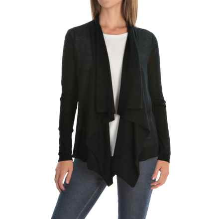 Magaschoni Superfine Cashmere Draped Cardigan Sweater (For Women) in Black - Closeouts