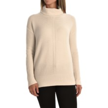 Magaschoni Texture-Blocked Cashmere Turtleneck - Long Sleeve (For Women) in Blanc - Closeouts