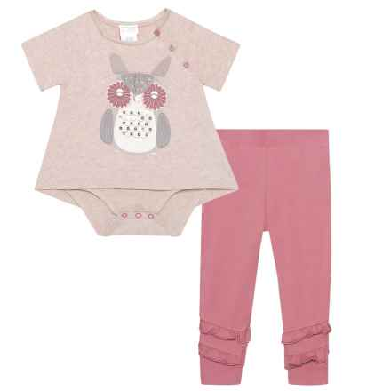 Maggie & Zoe Owl Graphic Tunic and Leggings Set - Short Sleeve (For Infant Girls) in Oatmeal Heather Burgundy - Closeouts