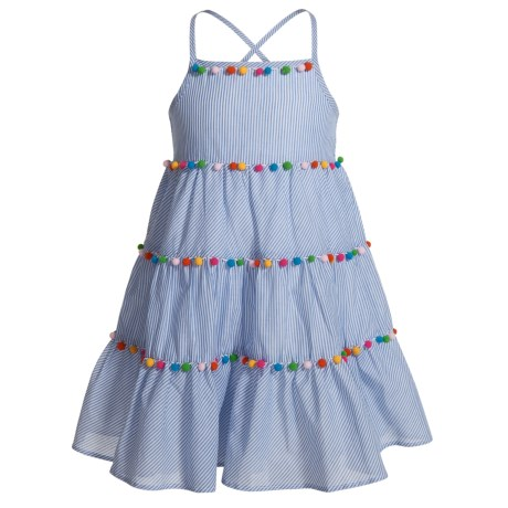 MAGGIE & ZOE Pompom Tiered Dress - Sleeveless (For Little and Big Girls) in Bluestripe