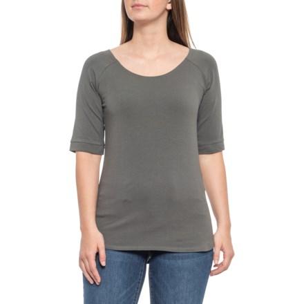 c3e1efaae83546 Maggie's Organics Raglan Blouse - Organic Cotton, Elbow Sleeve (For Women)  in Granite