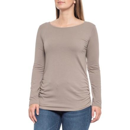 79267034a7e5f9 Maggie's Organics Ruched Two-Way Shirt - Organic Cotton, Long Sleeve (For  Women