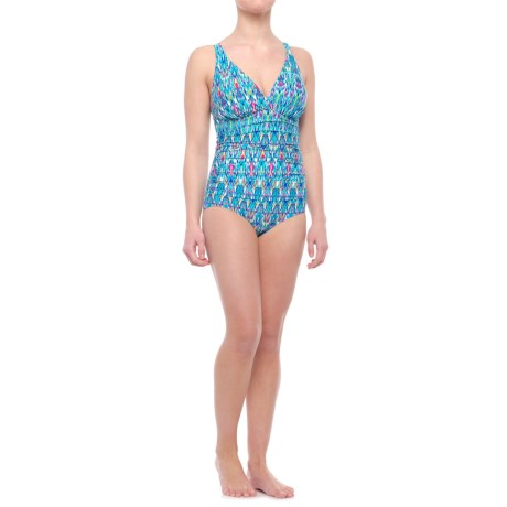 Magnus Ruched One-Piece Swimsuit - C/D Cup (For Women) in 990 Multi