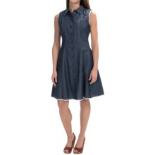 Maia Fit and Flare Button-Up Dress - Sleeveless (For Women) in Denim - Closeouts