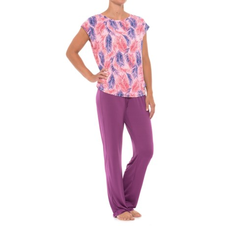 Maidenform Knit Pajamas - Short Sleeve (For Women) in Exotic Leaves