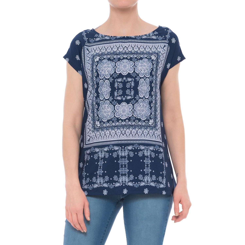 6fe8c308 Chlo Women s Bandana Print Silk Shirt Blue White Size 44 12 Source · Blue Bandana  Shirts Top Mode Depot