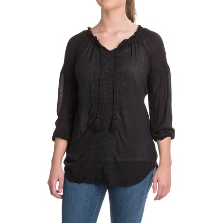 Maison Coupe Embroidered Rayon Peasant Top - Long Sleeve (For Women) in Black