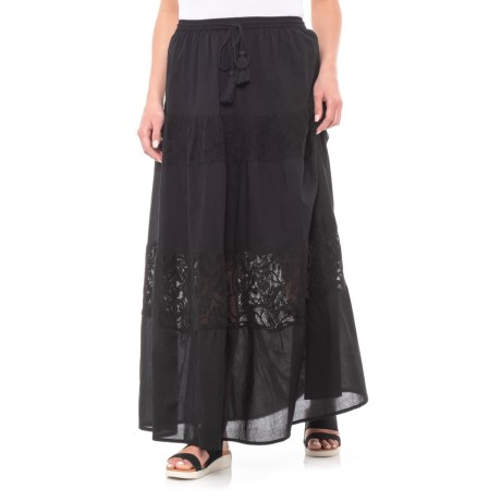 Maison Coupe Lace Stripe Skirt (For Women) in Black