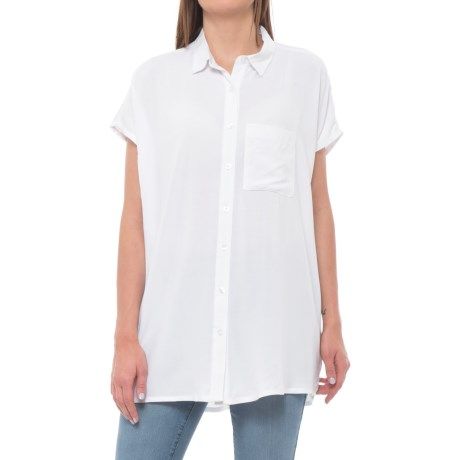 Maison Coupe Laced Back Tunic Shirt - Short Sleeve (For Women) in White