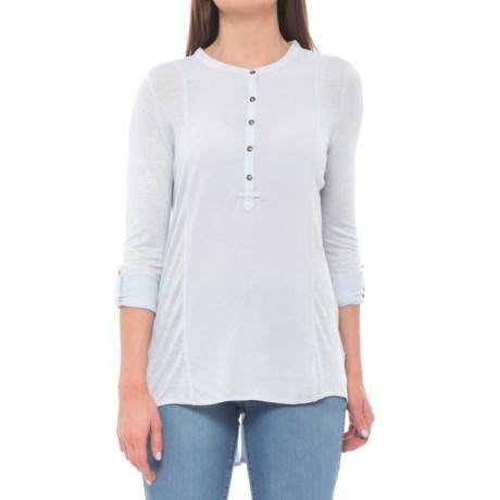 Maison Coupe Mixed Media Henley Shirt - Long Sleeve (For Women) in Light Blue