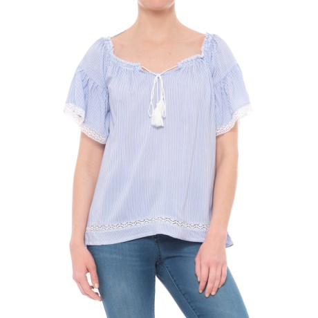 Maison Coupe Peasant Top - Short Sleeve (For Women) in Blue/Bleu