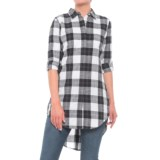 Maison Coupe Plaid Printed Tunic Shirt - Elbow Sleeve (For Women)