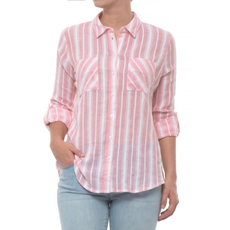 Maison Coupe Striped Shirt - Long Sleeve (For Women) in Pink