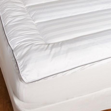 Maison International Dobby Stripe Channel Quilt Design Mattress Pad - 400 TC, King in White