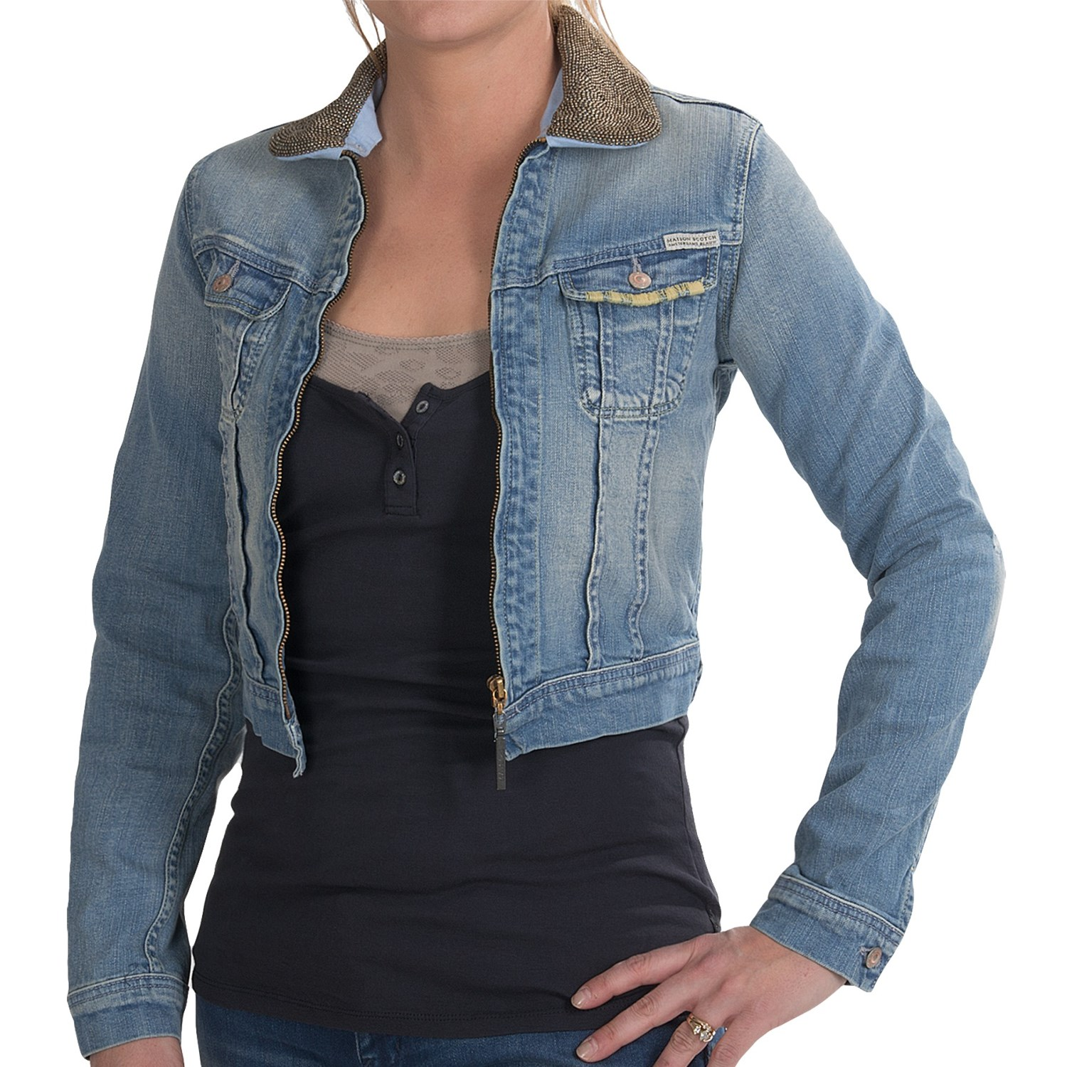 Details about Womens cropped denim jacket size 12
