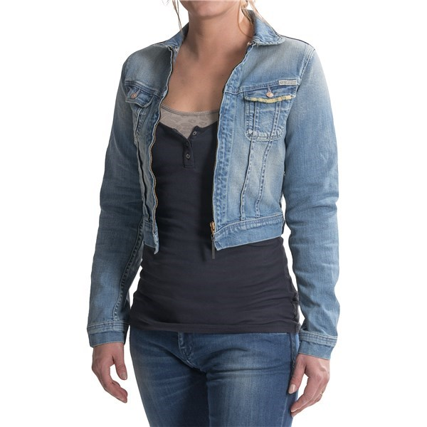 7140H_2 Maison Scotch Etoile Cropped Denim Jacket - Full Zip (For Women