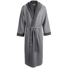 Majestic Birch Hooded Robe - Double-Knit Cotton, Long Sleeve (For Men) in Titanium - Closeouts