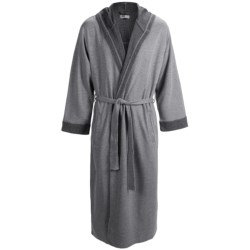Majestic Birch Hooded Robe - Double-Knit Cotton, Long Sleeve (For Men) in Midnight