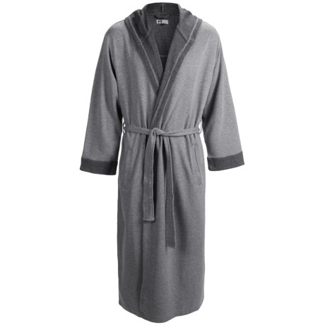 Majestic Birch Hooded Robe - Double-Knit Cotton, Long Sleeve (For Men) in Titanium