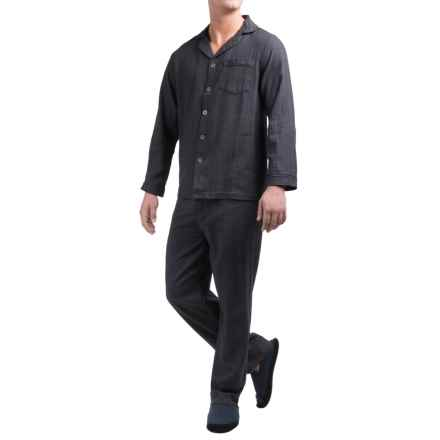 Majestic Cotton Flannel Pajamas - Long Sleeve (For Men) in Charcoal Herringbone - Closeouts