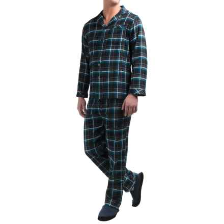 Majestic Cotton Flannel Pajamas - Long Sleeve (For Men) in Charcoal/Turquoise Plaid - Closeouts