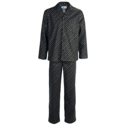 Majestic Cotton Flannel Printed Pajamas - Long Sleeve (For Men) in Navy Cards