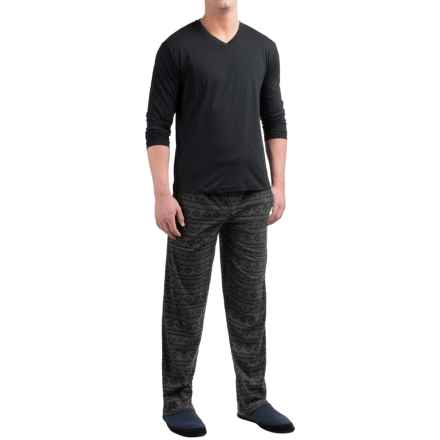 Majestic Cotton-Fleece Pajamas - Long Sleeve (For Men) in Charcoal/Black Snowflakes - Closeouts