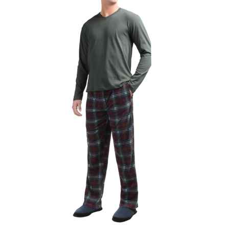 Majestic Cotton-Fleece Pajamas - Long Sleeve (For Men) in Green/Burgundy Plaid - Closeouts