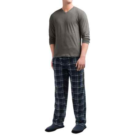 Majestic Cotton-Fleece Pajamas - Long Sleeve (For Men) in Navy/Charcoal Plaid - Closeouts