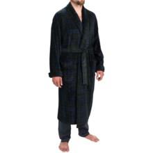 Majestic Fancy Patterned Fleece Robe - Long Sleeve (For Men) in Evergreen - Closeouts
