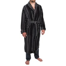 Majestic Fancy Patterned Fleece Robe - Long Sleeve (For Men) in Grey - Closeouts
