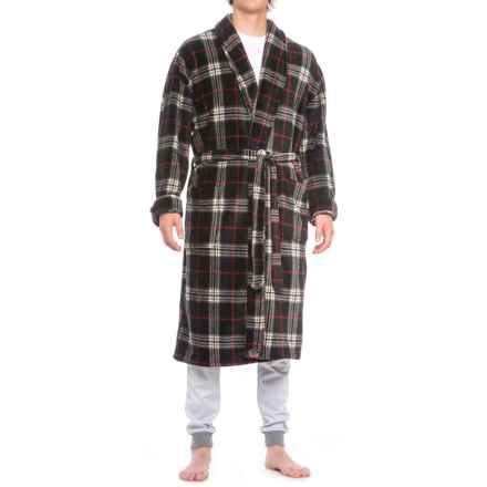 Majestic Fancy Plush Fleece Robe - Long Sleeve (For Men) in Black/Red Plaid - Closeouts
