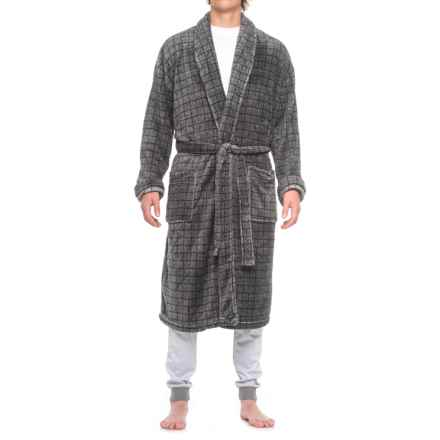 Majestic Fancy Plush Fleece Robe - Long Sleeve (For Men) in Grey Check - Closeouts
