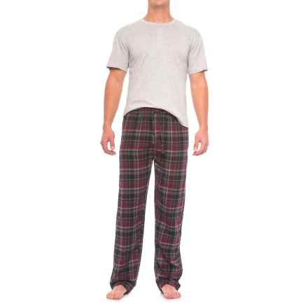 Majestic Henley Shirt and Plaid Pants Pajamas - Cotton, Short Sleeve (For Men) in Burgundy Plaid - Closeouts
