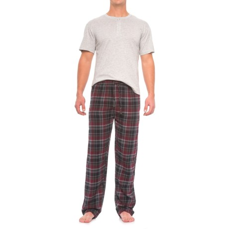 Majestic Henley Shirt and Plaid Pants Pajamas - Cotton, Short Sleeve (For Men) in Burgundy Plaid