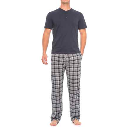 Majestic Henley Shirt and Plaid Pants Pajamas - Cotton, Short Sleeve (For Men) in Grey Plaid - Closeouts