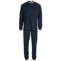 Majestic Knit Pajamas - Cotton, Long Sleeve (For Men) in Black