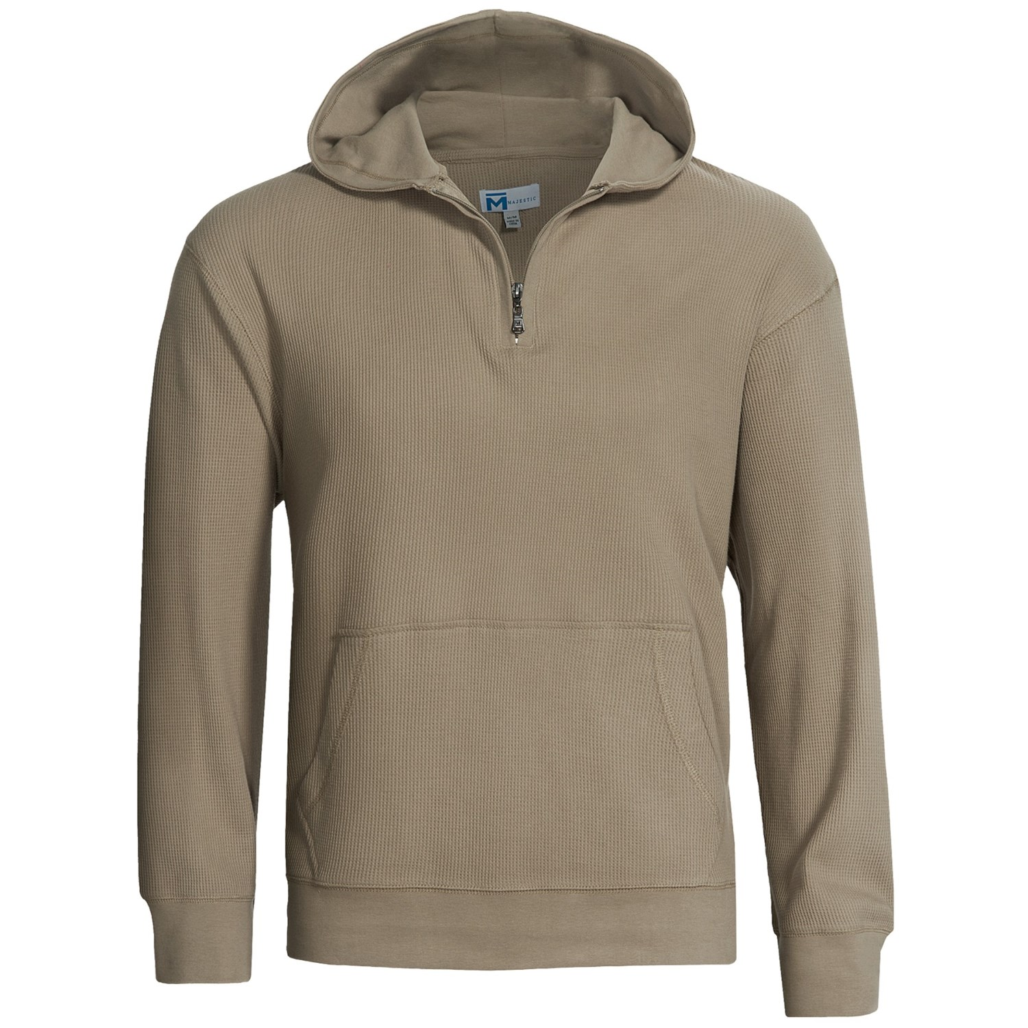 Majestic Knit Thermal Hoodie Sweatshirt - Zip Neck (For Men) in String