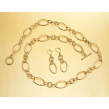Majestic Oval Chain-Link Necklace and Earring Set in Gold - Closeouts
