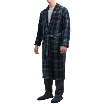 Majestic Plush Shawl Collar Robe - Long Sleeve (For Men) in Navy/Charcoal Plaid - Closeouts